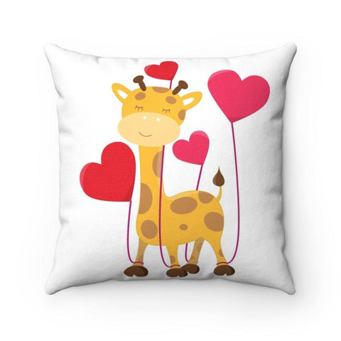 Giraffe Love Spun Polyester Square Pillow What animal lover could resist a giraffe overflowing with love. These beautiful indoor pillows create a loving and playful presence for any occasion 100% Polyester cover  Double sided print  Polyester pillow included