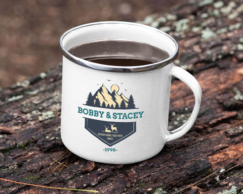Adventuring Together Personalized Tin Camp Mug Color Design 1