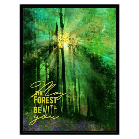Original work of canvas art . A semi abstract dense green forest with light breaking through the canopy and blue purple wildflowers in the foreground. Art copyright Sweet Dragon Mama