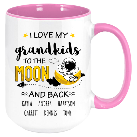I Love My Grandkids to the Moon And Back , Personalized Coffee Mug , Multicolor Handle and Inside - Sweet Dragon Mama