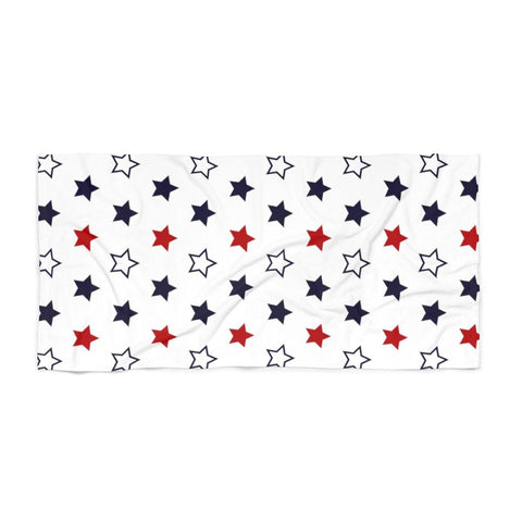 Red White Blue Stars Beach Towel