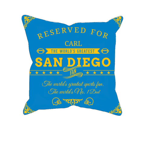 San Diego Football Fan Personalized Pillow Cover