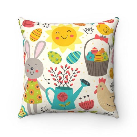 Spring Bunnies and Chicks Spun Polyester Square Pillow