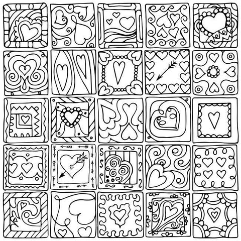 Hearts in Squares II by Julia Snegireva, Color Your Canvas