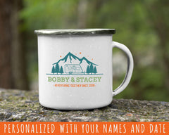 Adventuring Together Personalized Tin Camp Mug Design 5Made to order & personalized with your name and date! Create a very unique gift. Our full colour, custom-printed, retro style fine enamel mugs are durable, long-lasting and perfect for use at home as well as for camping and outdoor activities. A modern rustic look and feel this 12oz mug is retro and stylish.