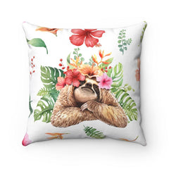 "Sloth ""I see you"" Spun Polyester Square Pillow  Great room accent for any sloth lover. Freshen up any room with a very personal touch. Colorful tropical foliage and flowers on a white background. And the sloth really does see you!   #sloth lovers #sloth wisdom #dorm decor ideas # first apartment% Polyester cover Double sided print Concealed zipper  Polyester pillow included"