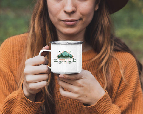 Adventuring Together Personalized Tin Camp Mug Color Design 10 - Sweet Dragon Mama