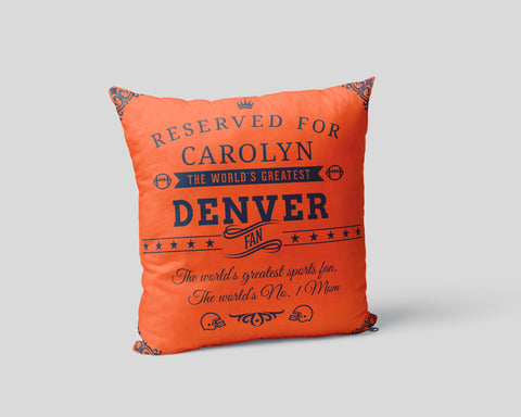 Denver Football Fan Personalized Pillow Cover