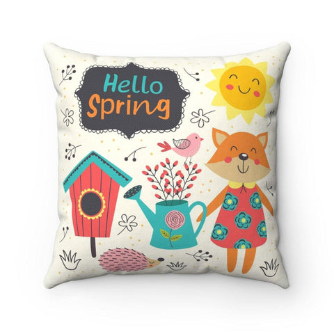 Hello Spring Spun Polyester Square Pillow