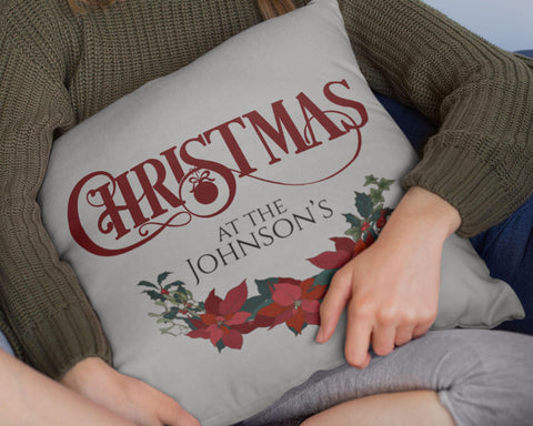 Christmas at the -  Personalized Pillow Cover - Sweet Dragon Mama