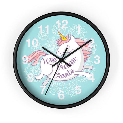 Love Dream Create Unicorn Wall clock