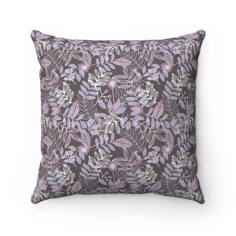 Leafy Delight Mauve Spun Polyester Square Pillow