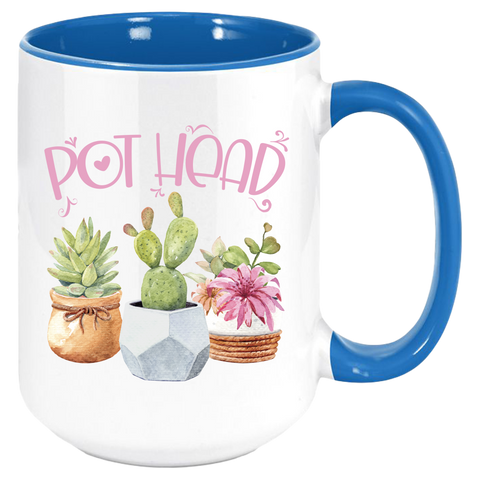 Blue handle and interior This coffee mug will bring a smile to any succulent lover or gardeners of any stripe. These premium ceramic coffee mugs capture brilliant, full-color designs. All colored inside/handle options are made with durable, thick walls for safe handling. Specifications: 11 or 15 oz. ceramic mug Matching colored inside/handle design