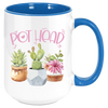 Image of Blue handle and interior This coffee mug will bring a smile to any succulent lover or gardeners of any stripe. These premium ceramic coffee mugs capture brilliant, full-color designs. All colored inside/handle options are made with durable, thick walls for safe handling. Specifications: 11 or 15 oz. ceramic mug Matching colored inside/handle design