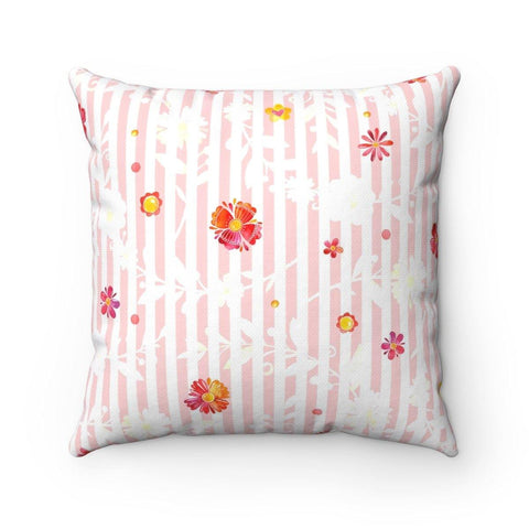 Spring Pinks Polyester Square Pillow