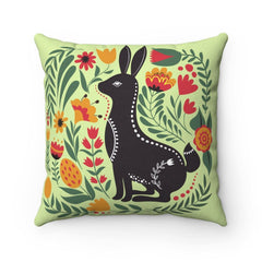 Woodland Style Rabbit Polyester Square Pillow