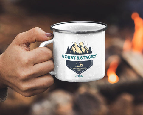 "Made to order & personalized with your name and date! Create a very unique gift.  "" Adventuring together since...""  Our full color, custom-printed, retro style fine enamel mugs are durable, long-lasting and perfect for use at home as well as for camping and outdoor activities. A modern rustic look and feel this 12oz mug is retro and stylish."