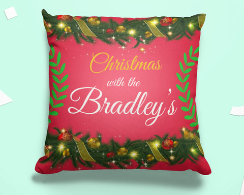 Christmas Bunting -Personalized  Pillow Cover