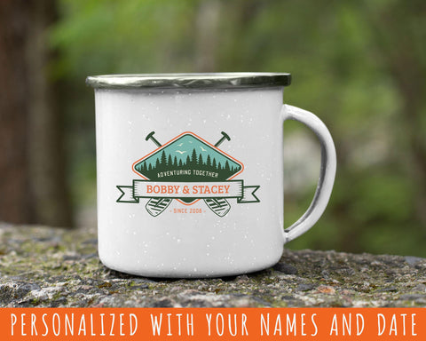 Adventuring Together Personalized Tin Camp Mug Color Design 10  Great gift for paddlers of all kinds.  Made to order & personalized with your name and date! Create a very unique gift. Our full color, custom-printed, retro style fine enamel mugs are durable, long-lasting and perfect for use at home as well as for camping and outdoor activities.  This 12 oz mug has a modern rustic look  and feel.