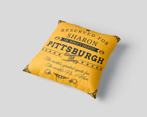 Pittsburgh Football Fan Personalized  Pillow Cover - Sweet Dragon Mama