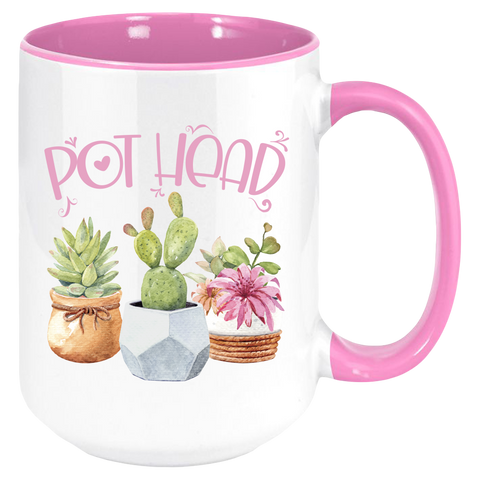 Pot Head Coffee Mug, White with Multicolor Handle and Inside - Sweet Dragon Mama