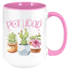 Image of Pot Head Coffee Mug, White with Multicolor Handle and Inside - Sweet Dragon Mama