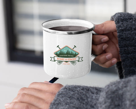 Adventuring Together Personalized Tin Camp Mug Color Design 10