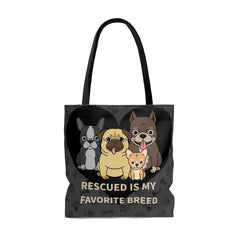 Rescued is My Favorite Breed Tote Bag - Sweet Dragon Mama