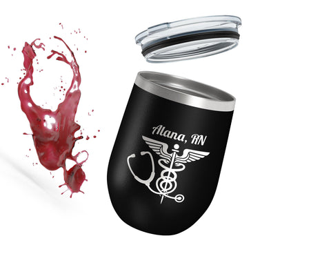 Nurse Badge 12oz Wine Tumbler