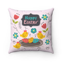 Happy Easter Spun Polyester Square Pillow