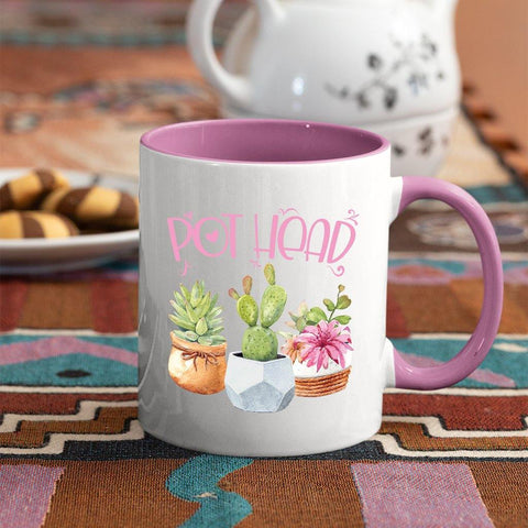 This coffee mug will bring a smile to any succulent lover or gardeners of any stripe. These premium ceramic coffee mugs capture brilliant, full-color designs. All colored inside/handle options are made with durable, thick walls for safe handling.   Specifications:  11 or 15 oz. ceramic mug Matching colored inside/handle design