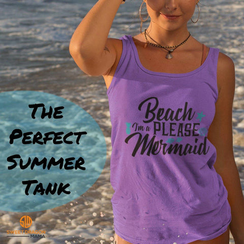 Beach Please, Mermaid 3480 Bella + Canvas Unisex Tank