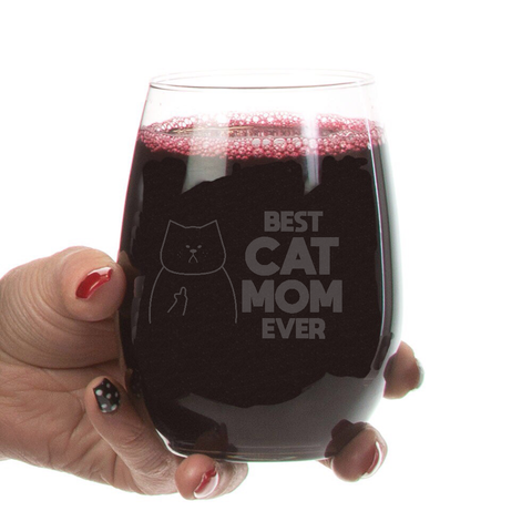 Best Cat Mom Ever Stemless Wine Glass-21 oz - Sweet Dragon Mama