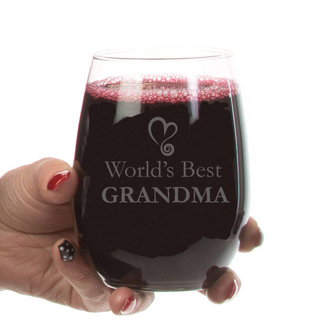 World's Best Grandma Stemless Wine Glass-21 oz - Sweet Dragon Mama