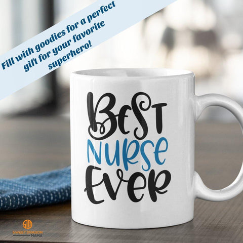 """Best Nurse Ever"" Fill the mugs with goodies for all your favorite superhero nurses! 11 oz volume capacity High-quality white ceramic mug Microwave and dishwasher safe Measures 3.75"" tall"