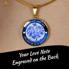 Mom Heart of Family Blue, Silver or Gold Necklace, Engraved