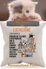 Friend of Felines Pillow w/ Insert, personalized