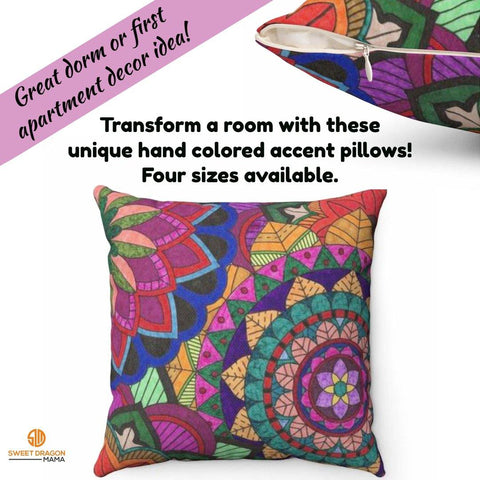 Color Burst Spun Polyester Square Pillow