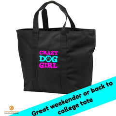 Crazy Dog Girl Port & Co. All Purpose Tote Bag
