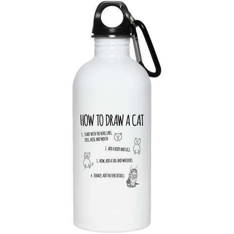 How to Draw a Cat 20 oz. Stainless Steel Water Bottle