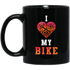 I Love My Bike Black Mug