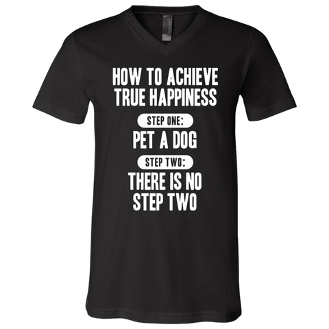 How to Achieve Happiness 3005 Bella + Canvas Unisex Jersey SS V-Neck T-Shirt