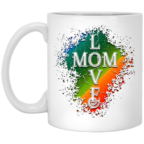 """Love Mom"" White Mugs"