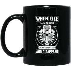 Drop A Gear 11 oz. Black Mug