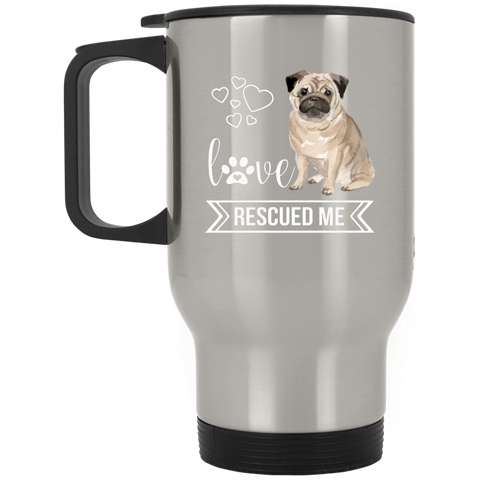 Pug Love Rescue Silver Stainless Travel Mug