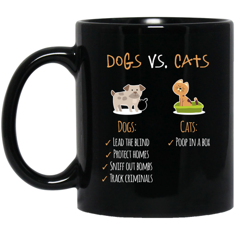 Dogs vs Cats 11 oz. Black Mug - Sweet Dragon Mama