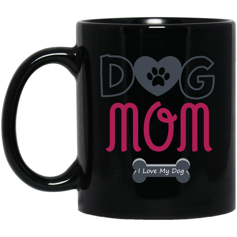 Dog Mom 11 oz. Black Mug
