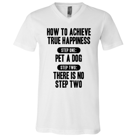 How to Achieve Happiness White V-Neck T-Shirt