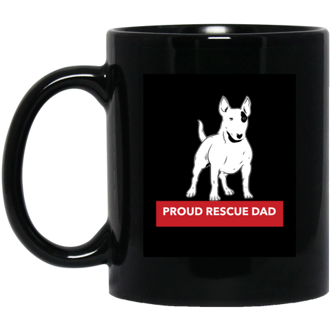 Proud Rescue Dad 11 oz. Black Mug High quality ceramic mug Dishwasher safe Microwave safe Black gloss 11 oz.