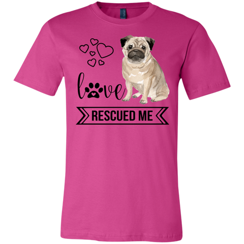 Pug Love Rescued Me 3001C Bella + Canvas Unisex Jersey Short-Sleeve T-Shirt - Sweet Dragon Mama